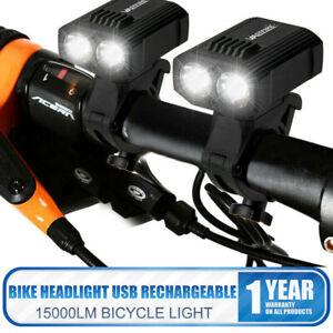 2x Phare Vélo Avant 15000LM T6 LED Lumière Lampe Bicyclette USB MTB Rechargeable