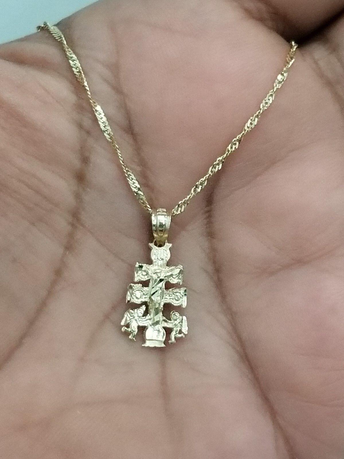 14K Yellow gold Orthodox Cross Jesus Pendant Charm + 1.6mm 20  Singapore Chain