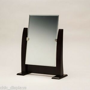 "12 1/2"" tall STORE MIRROR ADJUSTABLE COUNTERTOP MIRROR w/WALNUT FINISHED STAND"