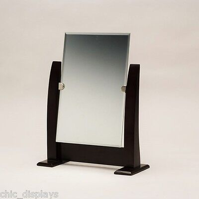 """12 1//2/"""" tall STORE MIRROR ADJUSTABLE COUNTERTOP MIRROR w//WALNUT FINISHED STAND"""