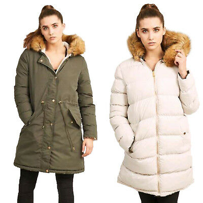 Brave Soul Womens Hooded Reversible Parka Puffer Jacket New Faux Fur Padded Coat Diversifizierte Neueste Designs