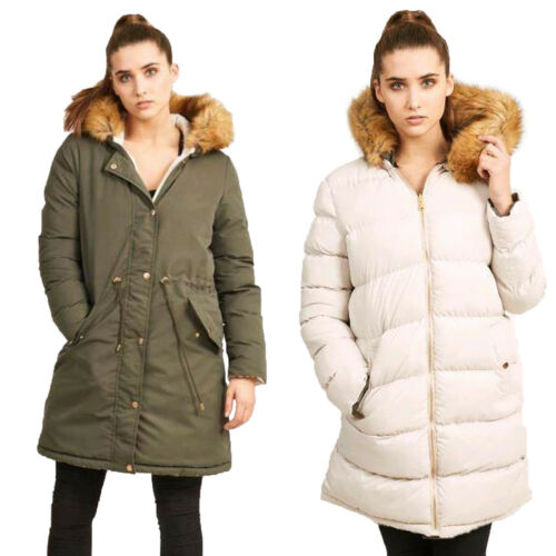 Brave Soul Womens Hooded Reversible Parka Puffer Jacket New Faux Fur Padded Coat