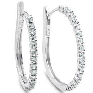 1-2-ct-Diamond-Hoops-10k-White-Gold-1-034-Tall-Womens-Earrings