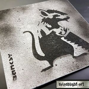Details About Banksy Saw Rat Black Spray Paint On Concrete Textured Plaster 30cm Wall Art