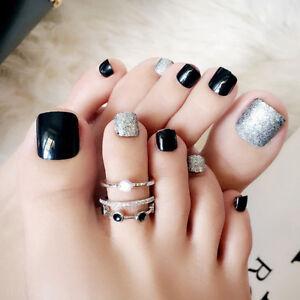 24Pcs Black False Glue On Fake French Natural Toe Nail Acrylic Toe ...