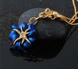meravigliosa-Stella-di-Mare-fiore-oro-COLLANA-con-cristalli-Fashion-Moda-BLU