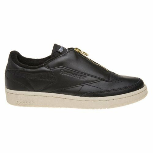New Womens Reebok Black Club C 85 Zip Leather Trainers Court