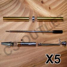 Chrome Slimline Pen Kits X 5 off Sets - for woodturning