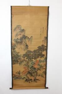 Altes-grosses-Rollbild-aquarellierte-Druckgrafik-Landschaft-China