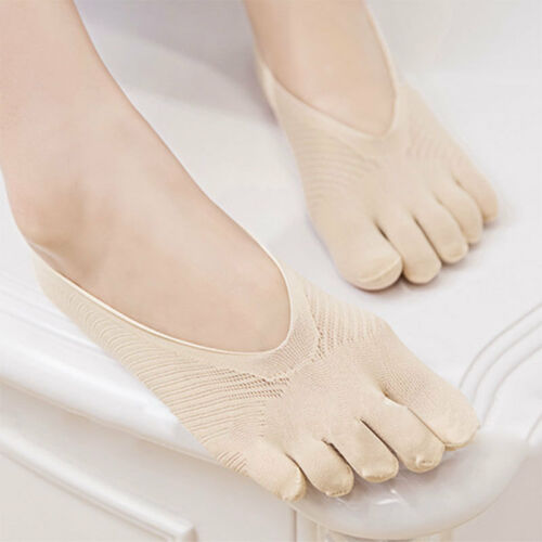 3 Pairs Women Five Toes Finger Low Cut Ankle Socks Hosiery Invisible Socks Soft