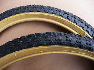 TYRES-Pair-Retro-Old-School-Comp-3-III-Tread-BMX-Bicycle-Amber-Wall-Burner-Bike