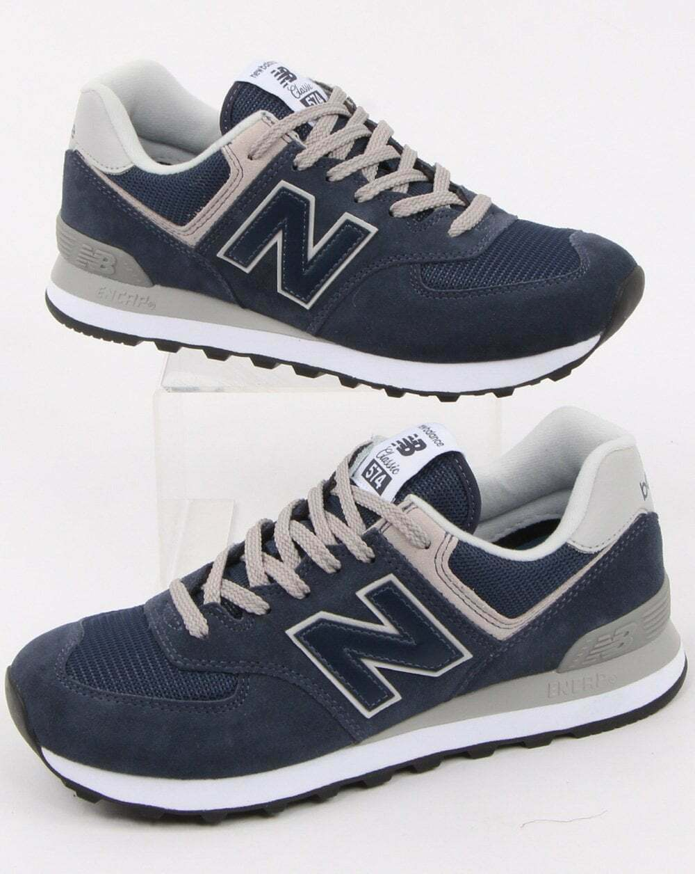 New Balance 574 Heritage Running Shoes Sneakers Navy ML574EGN Size 4.5 US