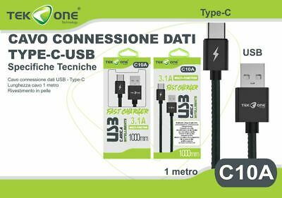 Cavo Dati Usb Tekone C10a Connettore Type-c Tipo C 3.1a 1mt Smartphone Hsb
