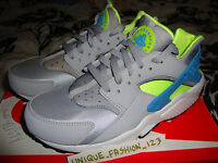 NIKE AIR HUARACHE LE WOLF GREY VOLT US 8.5 UK 7.5 42 TRIPLE BLACK WHITE QS OG