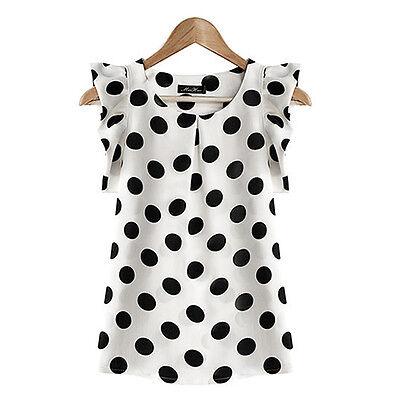 Women Casual Summer Chiffon Blouse Short Sleeve Shirts T-shirt Fashion Tops S-XL