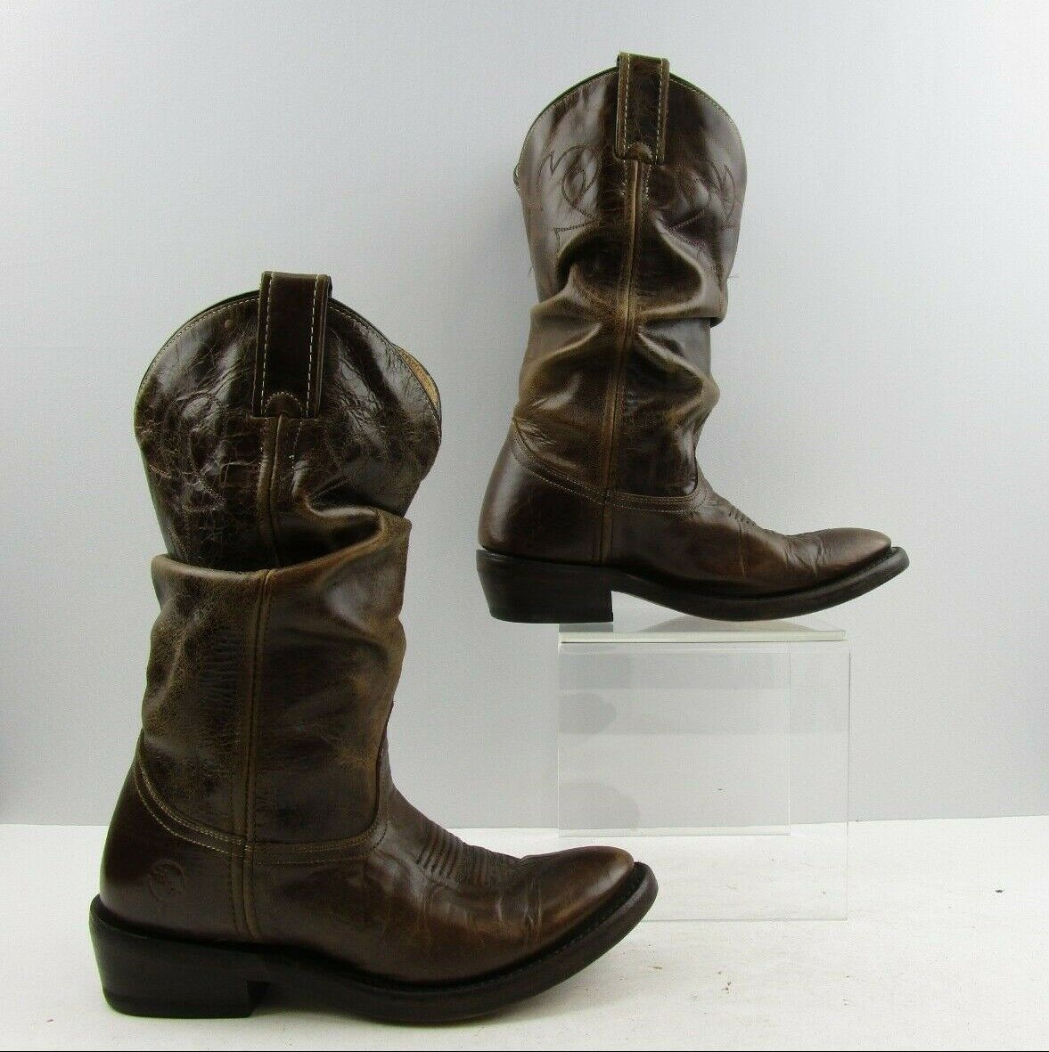 Ladies Double H Brown Leather Cowboy Western Boots Size  6 M