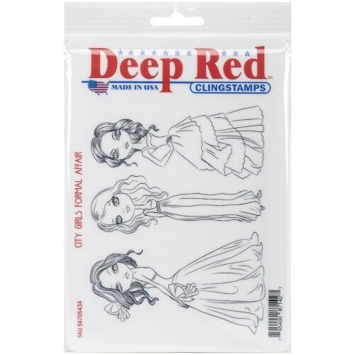 Deep Red Stamps City Girls Formal Affair Rubber Cling Stamp