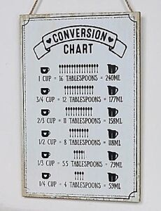 Amazing Details About Wooden Plaque Kitchen Conversion Chart Table Milliliters Tablespoons Cups Home Interior And Landscaping Ologienasavecom