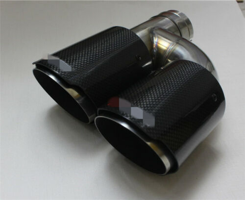 2pcs Dual Stainless Exhaust Tip Carbon Fiber Tailpipe 63mm H Shape Single Wall