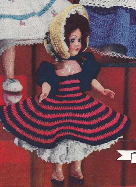 Vintage Crochet PATTERN to make 8-inch Doll Clothes Bo Peep Party Dress Hat
