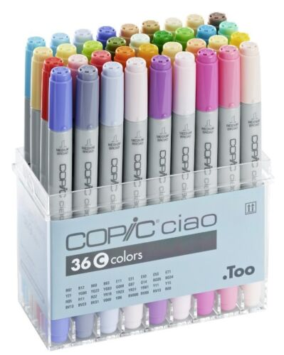 REFILLABLE WITH COPIC INKS TWIN TIPPED COPIC CIAO MARKER 36C COLOUR SET