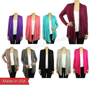 Woman-Casual-Cardigan-Basic-Solid-Color-Jersey-Outerwear-S-M-L-XL-Made-in-USA