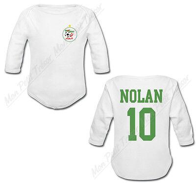 Body Bébé Football Equipe Nationale Maroc avec prénom et numéro personnalisés