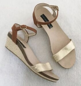 Steven-By-Steve-Madden-Sandals-Size-8-5-Women-s-Gold-Band-Low-Wedge-Espadrille