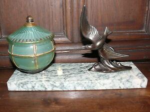 Raritaet-Original-Art-Deco-Lampe-Tischlampe-fliegender-Vogel-ca-1925-Frankreich