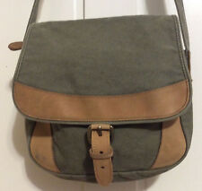 LL Bean women's olive green cordura and leather shoulder bag purse