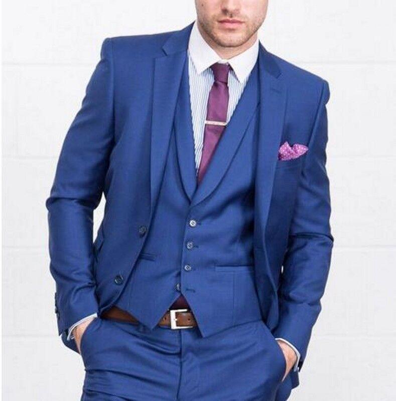 Royal bluee 3 Pieces Notch Lapel Tuxedo Best Men Formal Business Wedding PromSuit