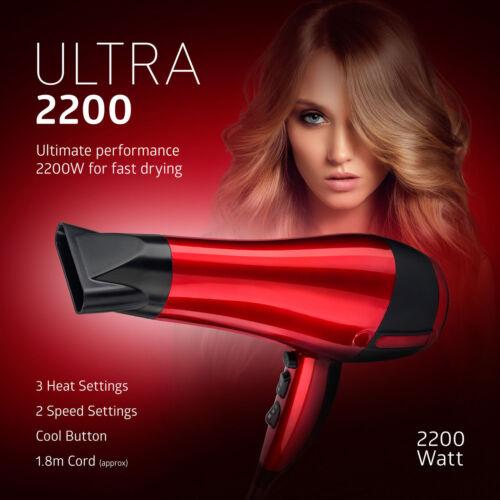 2200W PROFESSIONALE Stile RED HOT Phon Concentratore UGELLO Soffiatore Pro Salon