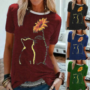 Womens-Blouse-Short-Sleeve-Ladies-Loose-Pullover-Cat-Tee-T-Shirt-Sunflower-Tops