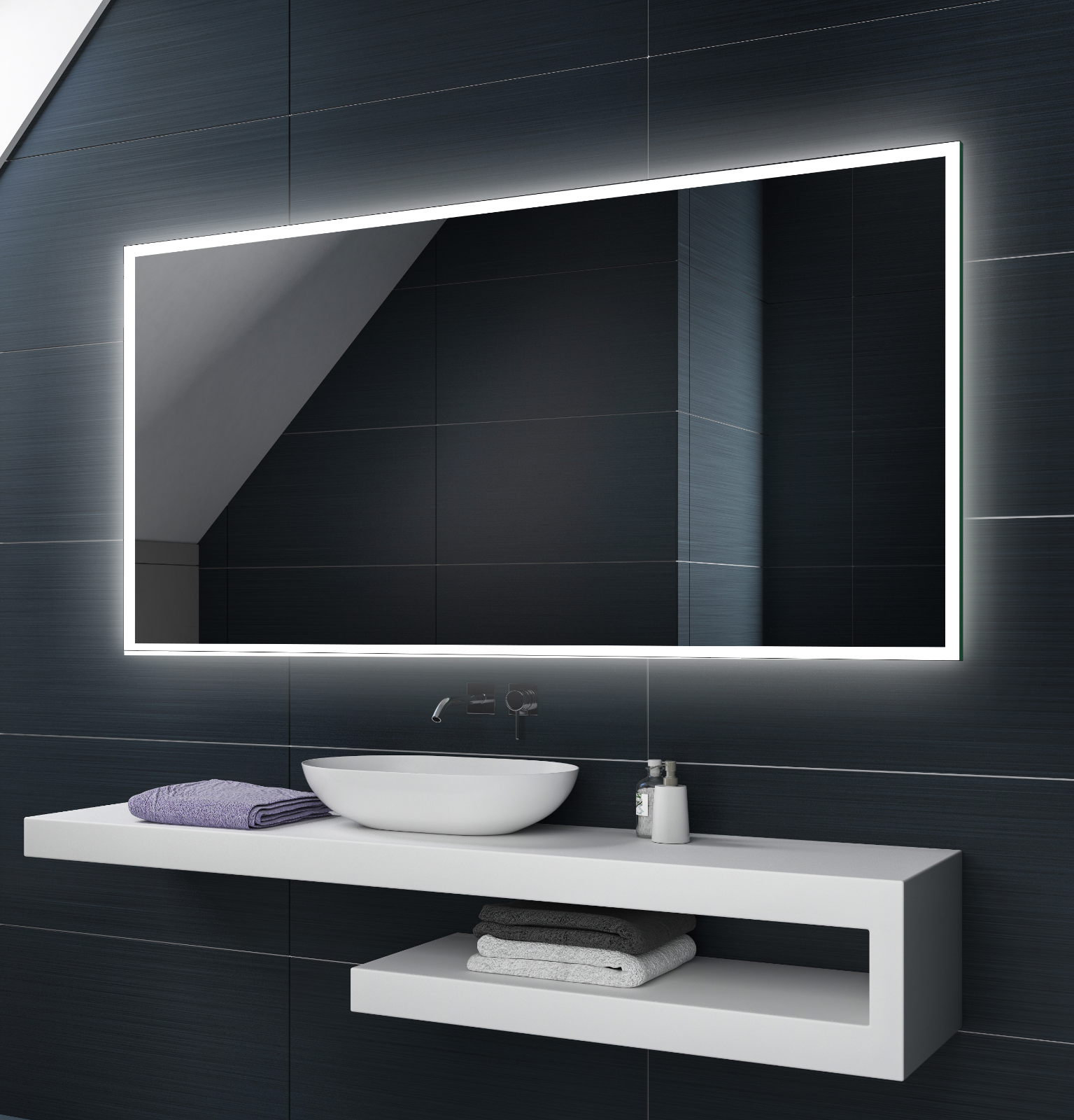 Illumination LED miroir sur mesure eclairage salle de bain L49