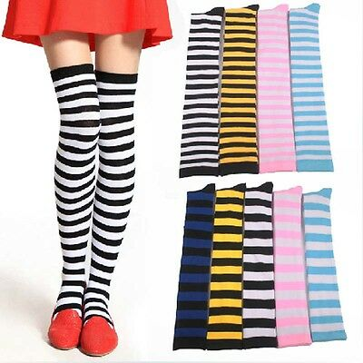 Girls 7 Colors Over Knee Long Stripe Printed Thigh High Striped Patterned Socks