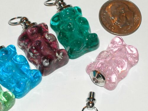 1pc Pink charm Glass Gummy Bear BOTTLE candy necklace pendant GLOW IN DARK *