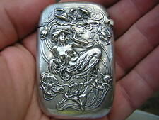 ANTIQUE KERR STERLING SILVER NOUVEAU LADY MAIDEN MATCH VESTA CASE MATCHSAFE