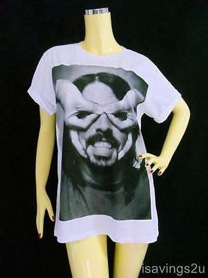 DAVE GROHL T-shirt, FOO FIGHTERS Grunge, WHITE Cotton S M L Unisex, ROCK Music