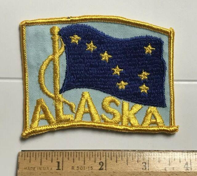 "Embroidered Alaska State Pride Flag Large 5/"" AK Patch Souvenir Iron On Sew USA"