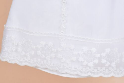 Baby Girls White Satin Long Sleeves Christening Gown Bonnet 0 3 6 9 12 Months