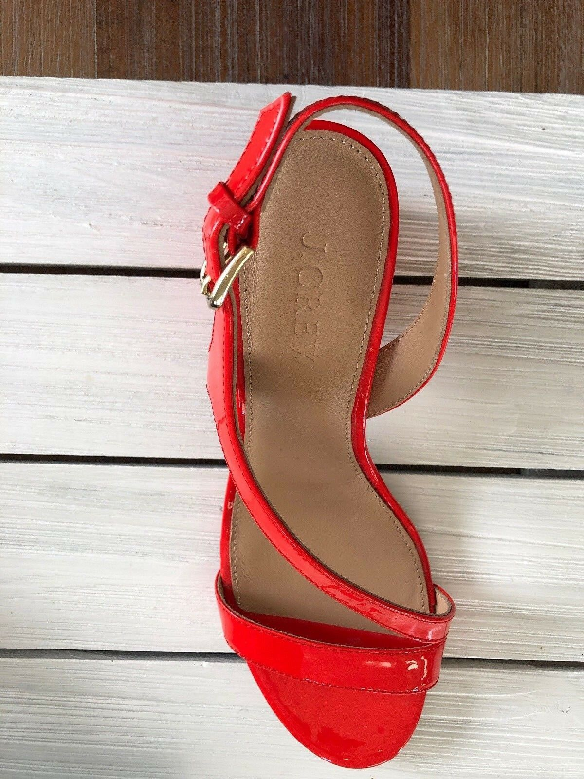 J Crew Asymmetrical Strappy Sandals Sandals Sandals (60mm) Patent Leather Glazed arancia Sz 5.5 6110d1