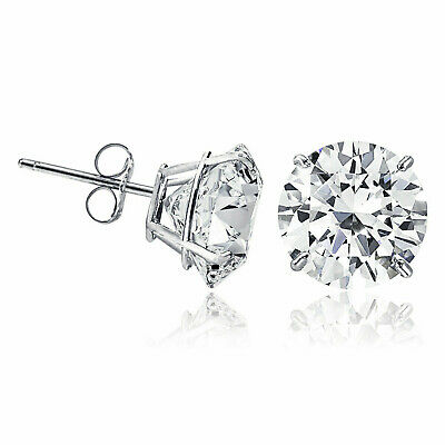 Solid 14k White Gold and Round Cubic Zirconia CZ Solitaire Basket Stud Earrings
