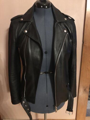 Zara Real Leather Biker Jacket Black Size S Small