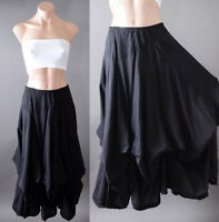 Black Gothic Steampunk Victorian Peasant Boho Bustle Cotton Petticoat Long Skirt