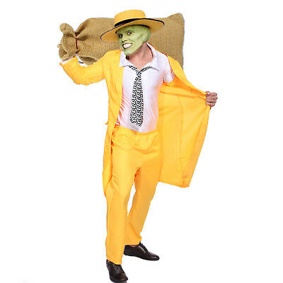 Mens 90/'s Yellow Gangster Zoot Suit The Mask Jim Carrey Costume Fancy Dress