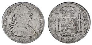 8-SILVER-REALES-PLATA-CHARLES-IV-CARLOS-IV-MEXICO-1807-VF-MBC