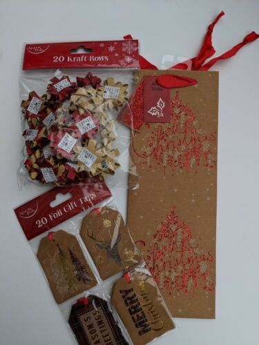 20 contemporary Christmas Gift Tags 20 Kraft Bows Red /& Bottle Bag Gift Wrapping