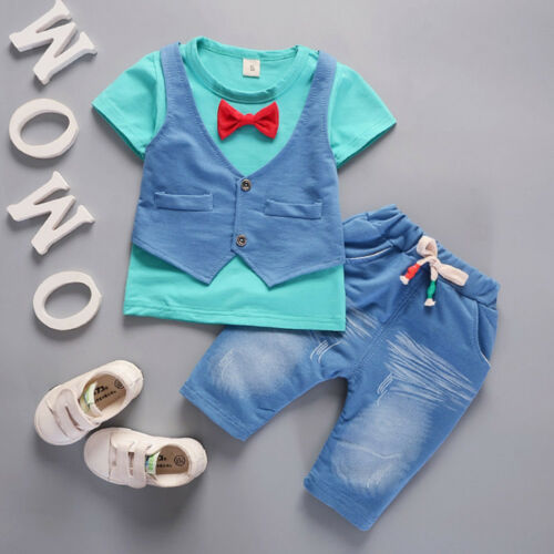 Toddler Baby Boys Outfits Short Sleeve T-shirt+Pants Gentleman Tie Clothes S9