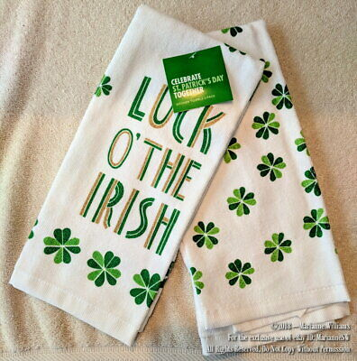 Luck of the Irish Dish Towels 100/% Cotton New Pair of St Patrick/'s Day