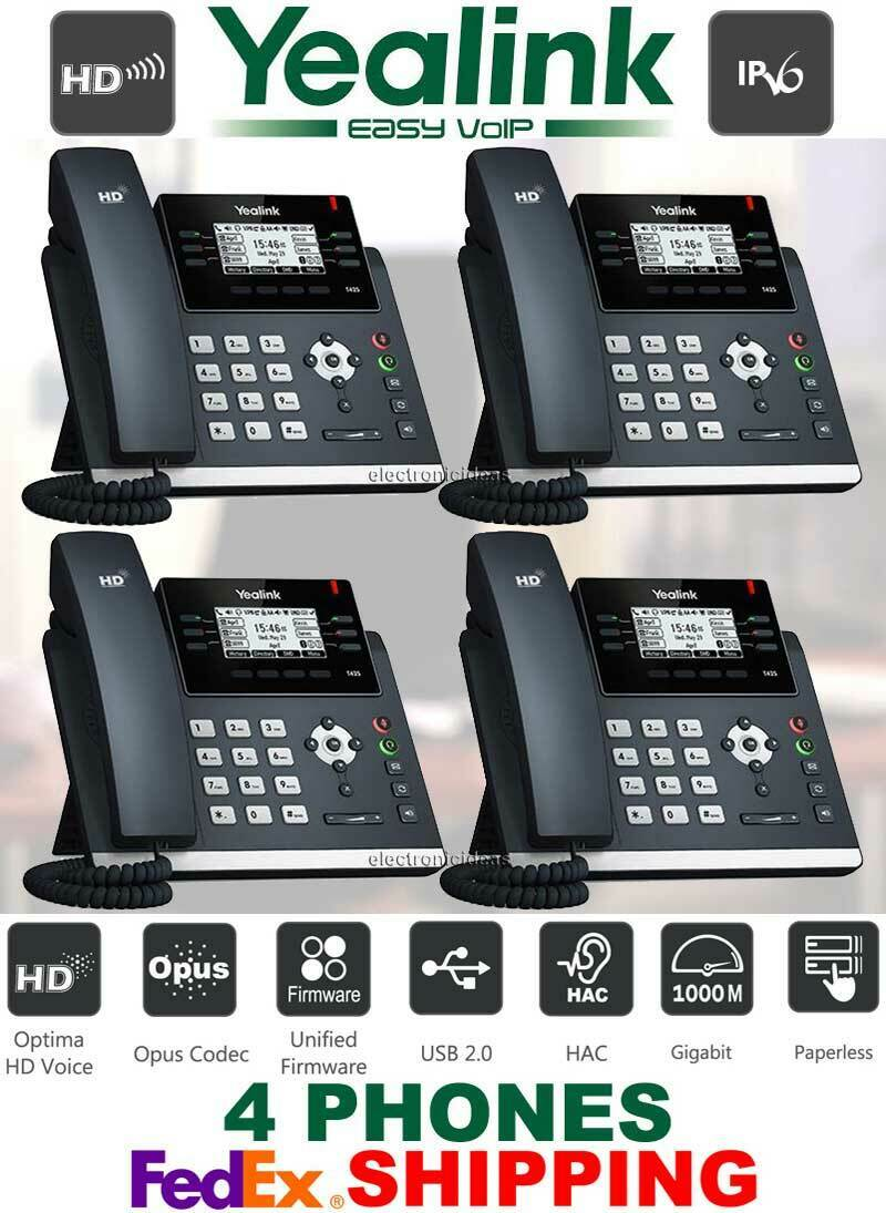 Details about YEALINK SIP-T42S ULTRA ELEGANT GIGABIT IP VOIP PHONE  SYSTEM-12-LINES - 4 PHONES